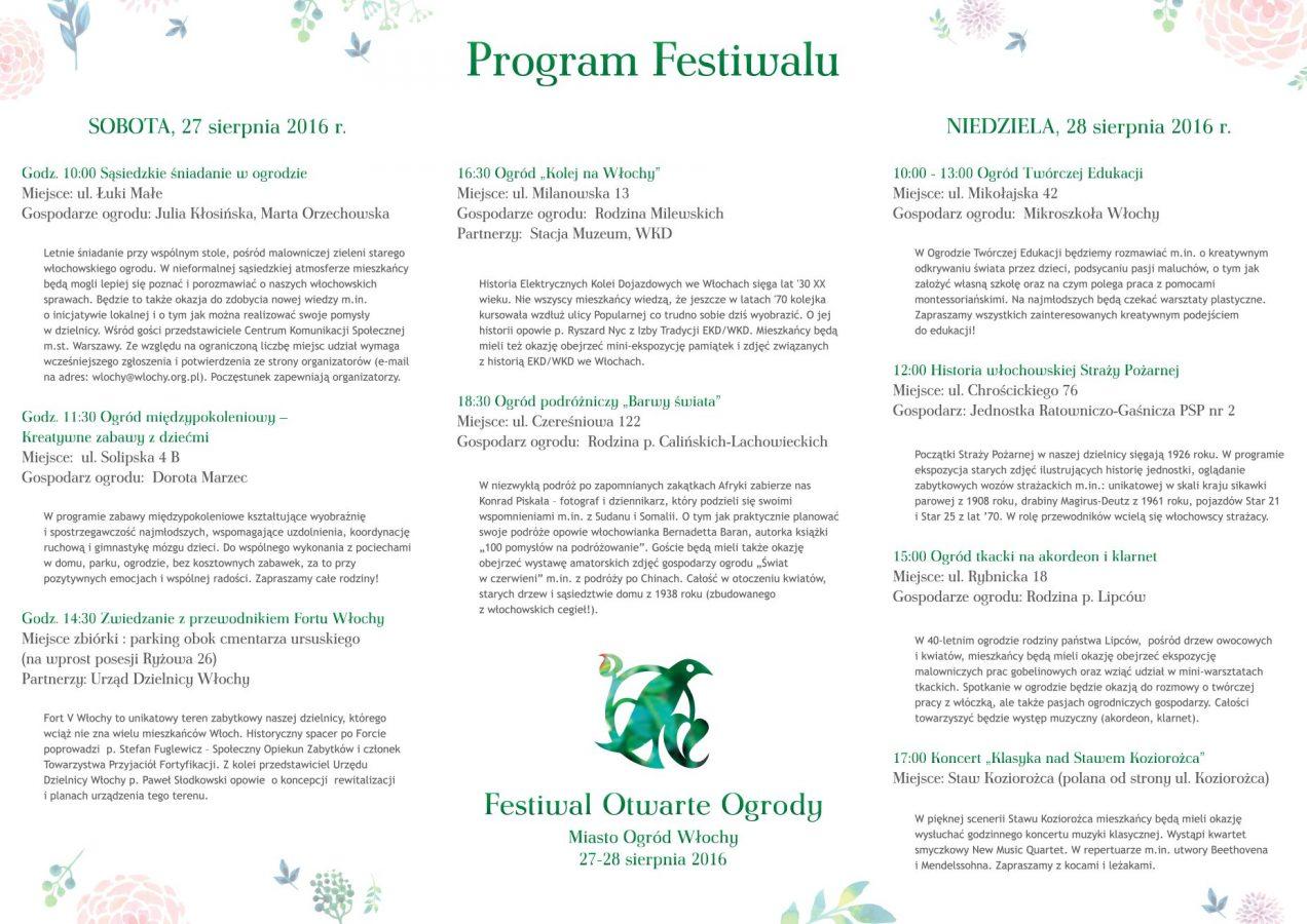 Zapraszamy na Festiwal Otwarte Ogrody 2016 we Włochach