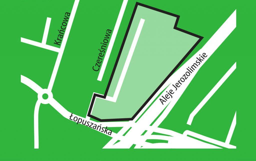 Mapka pokazująca obszar objęty planem miejscowym Wiktoryn część B pomiędzy ul. Czereśniową a Al. Jerozolimskimi