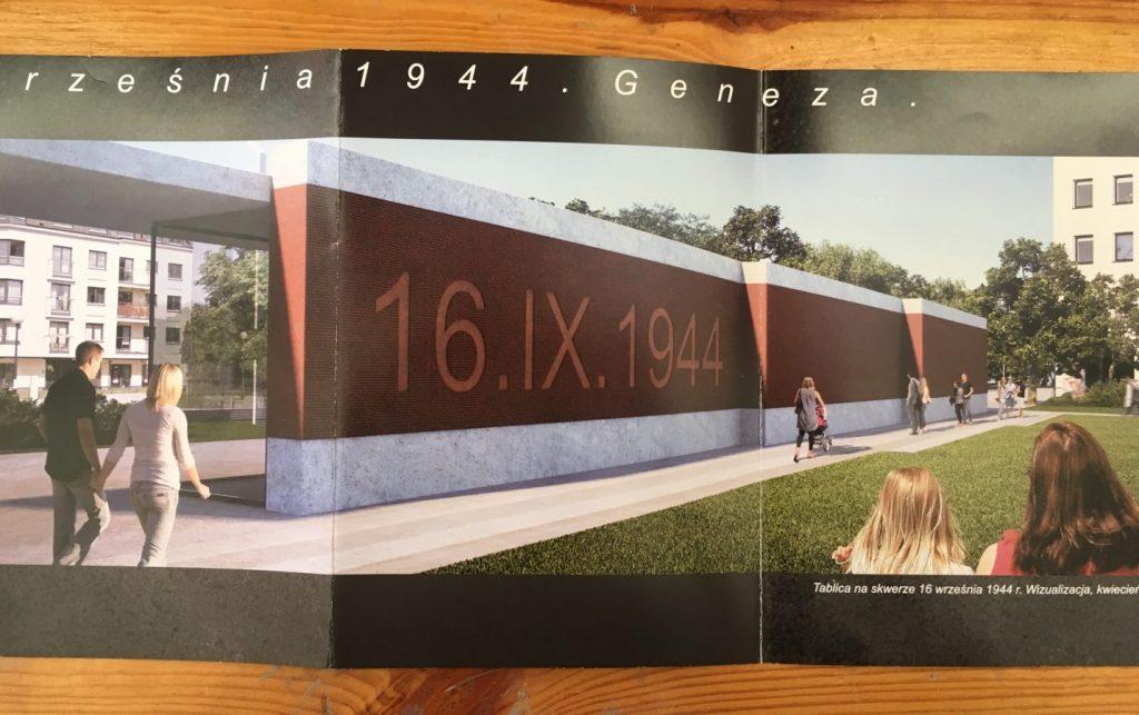 Projekt pomnika w formie ściany ze stali kortenowskiej
