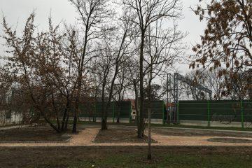 Widok na nowe alejki i drzewa na skwerze na rogu ul. Plastycznej i Potrzebnej